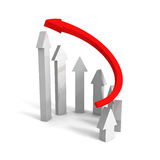 Rising up red leader concept arrow. leadership success Stock Images