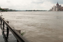 Rising Water and Parliament, Budapest Stock Images