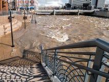 Rising water, Truckee River in Reno, Nevada Royalty Free Stock Photos