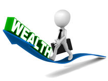 Rising wealth. Little 3d man riding the wave of rising wealth, white background, blue and green 3d elements royalty free illustration