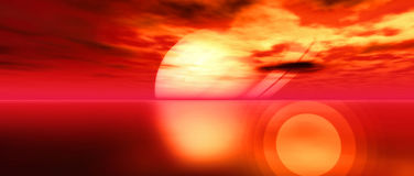 Rising - Widescreen. Digital created scifi scenery Royalty Free Stock Photography
