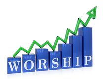 Rising worship graph. 3d rendered rising worship graph , isolated on white background stock illustration