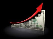 Risisng dollardiagram Fotografering för Bildbyråer