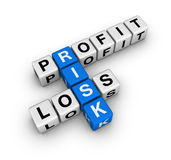 Risk. Profit, loss and risk (blue-white cubes crossword series Royalty Free Stock Photos