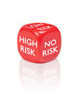 Risk. Dice with different risk outcomes stock photo