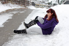 Risk of accidents in winter Stock Photography