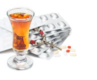 Risk of addiction. Alcohol and drugs Stock Photo