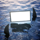 Risk and advertisement concept. Blank white computer screen on sea surface with shark fins. Mock up, 3D Rendering. Risk and advertisement concept Royalty Free Stock Photos