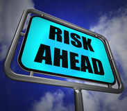 Risk Ahead Signpost Shows Dangerous Unstable and Insecure Warnin Stock Photo
