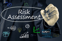 Risk Assessment. Businessman writing Risk Assessment topic on screen Stock Images
