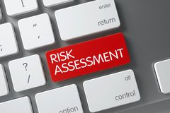Risk Assessment Button. 3D. Concept of Risk Assessment, with Risk Assessment on Red Enter Keypad on Metallic Keyboard. 3D Illustration royalty free stock image