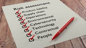 Risk assessment checklist with red pen and paper. Risk assessment types checklist on white paper with red tickmarks and a pen 3D illustration Stock Photo