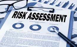 Risk assessment concept. Risk assessment analysis concept on clipboard Stock Photography