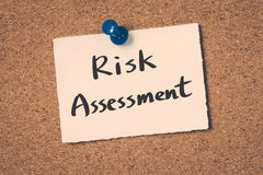 Risk Assessment. Concept on a cork board royalty free stock image