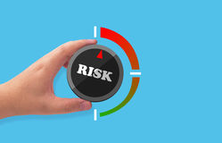 Risk Assessment, Management Concept. Risk assessment, management planning concept, hand holding button on blue background royalty free stock photos
