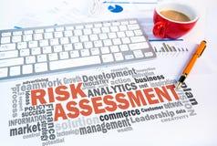 Risk assessment word cloud. On office scene Stock Photo
