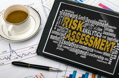 Risk assessment word cloud. With related tags royalty free stock image