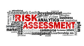 Risk assessment word cloud. With related tags Stock Image