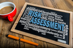 Risk assessment word cloud. On small blackboard Royalty Free Stock Image