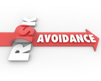 Risk Avoidance Preventing Loss Liability Management. Risk Avoidance arrow jumping over danger or risky trouble or problem to illustrate management or minimizing Royalty Free Stock Photography