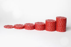 Risk bar chart. A set of poker chips arranged into a bar chart Stock Images