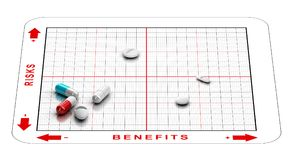 Risk Benefits Assesment of Drugs. Clinical Trials and Side Effects. 3D illustration of a matrix with tablets and the words risks and benefits. Concept of stock illustration