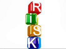 Risk Blocks. Risk falling cubes isolated on white background Stock Photos