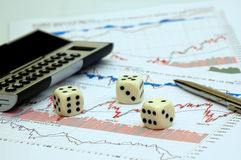 Risk in business. Conceptual - risk in business (dices Royalty Free Stock Photo