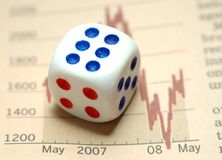 Risk in business. Dice on current business achievement Royalty Free Stock Photography