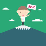 Risk business concept. Cartoon drawing on green background. Stock Image