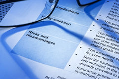 Risk Business Policy Statement Contract Stock Images