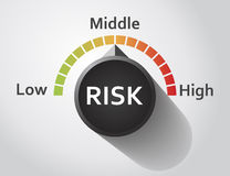 Risk button pointing between low and high level Stock Images
