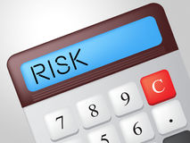Risk Calculator Means Insecurity Accounting And Risky. Risk Calculator Showing Unsteady Crisis And Risky Stock Images