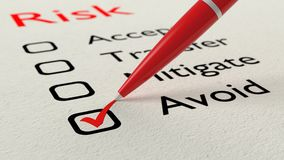 Risk checklist avoid choice tickmark Stock Images
