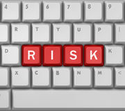 Risk. Computer keyboard with word RISK, 3d rendering Stock Photography