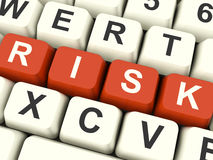 Risk Computer Keys Showing Peril And Uncertainty Stock Photography