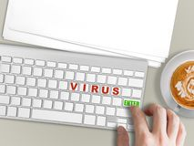 Risk of computer virus concept. Concept of risk of computer virus with hand press enter for virus Royalty Free Stock Photography