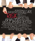 Risk concept. Photo of business hands holding blackboard and writing RISK Royalty Free Stock Photo