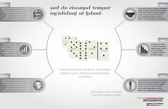 Risk concept round infographic template design with domino element Stock Image