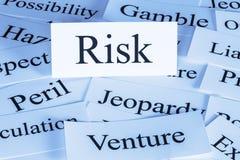 Risk Concept in Words. Risk Concept - a conceptual look at risk, peril, hazard, liability, gamble jeopardy stock photos