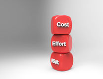 Risk,Cost,effort 3d word on red cubes Stock Images