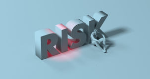 Risk - 3d render lettering sign, near tired depressed man, illus Royalty Free Stock Photo