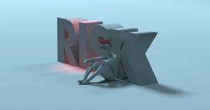 Risk - 3d render text sign, near sad stressed man, illustration Stock Image