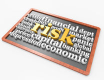 Risk 3d word concept on blackboard concept Stock Photo