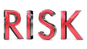 Risk 3d word. The risk word 3d rendered red and gray metallic color , isolated on white background Royalty Free Stock Photo