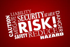 Risk Danger Safety Security Word Collage. 3D Stock Image
