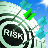 Risk On Dartboard Showing Dangerous Stock Image
