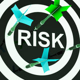 Risk On Dartboard Shows Unsafe Stock Photos