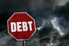 Risk of debt. The danger of being in debt Stock Images