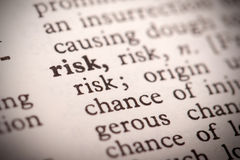 Risk Definition. The word Risk in a dictionary Royalty Free Stock Images